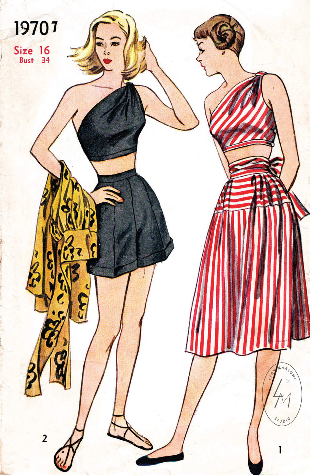 Simplicity 1970 1940s vintage sewing pattern 1940 1950 beachwear one shoulder top skirt