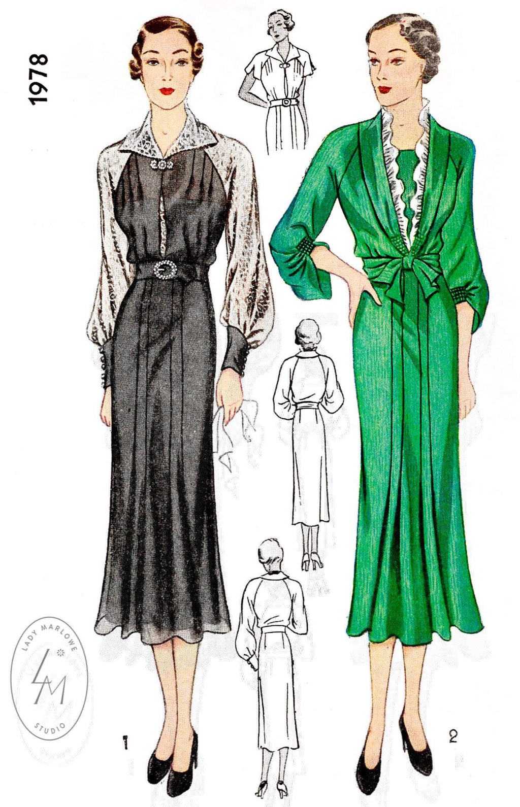 1930s 30s Simplicity 1978 art deco dress in 2 styles raglan bishop sleeves shirring detail vintage sewing pattern reproduction