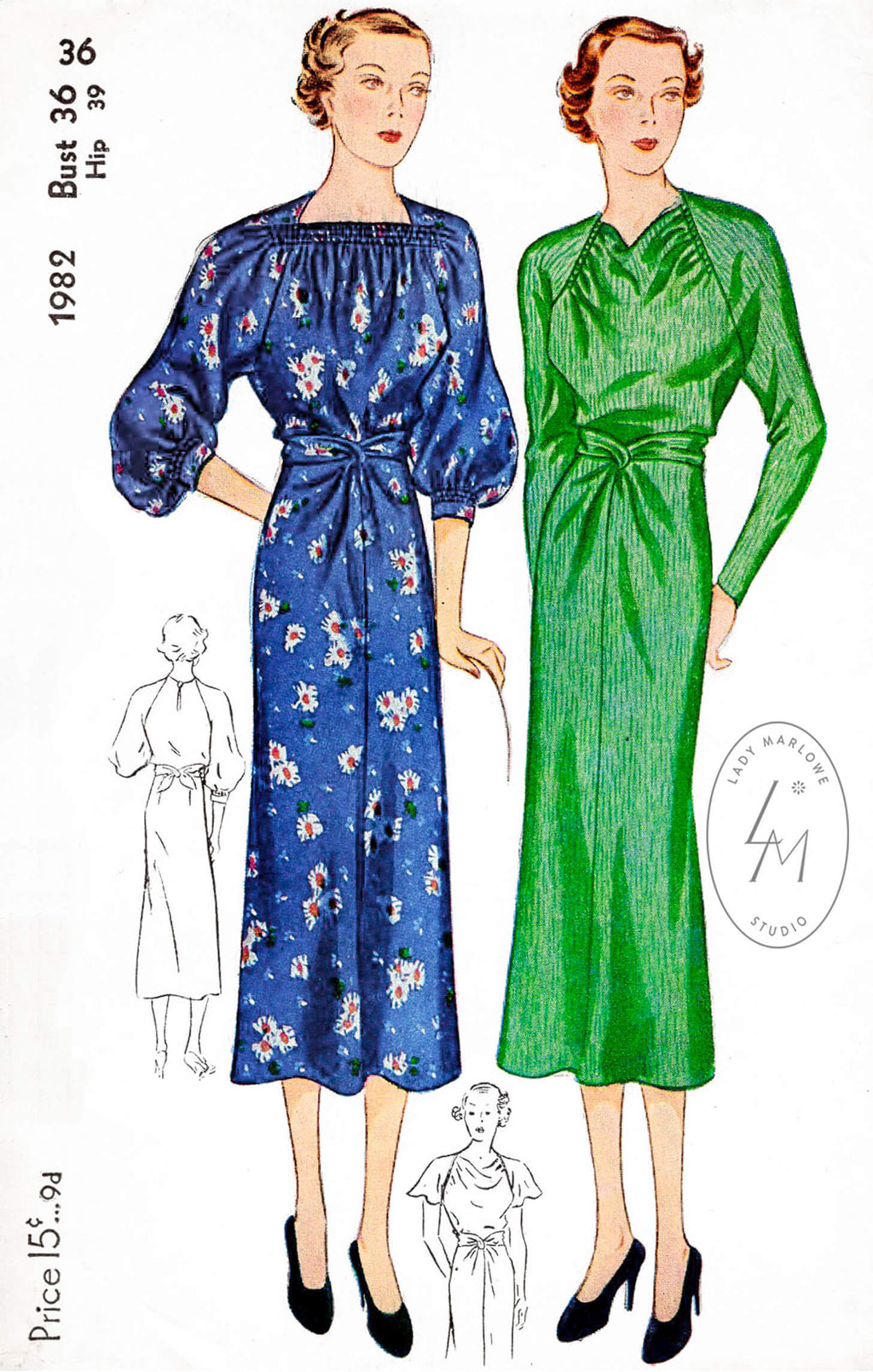 1930s 30s Simplicity 1982 art deco dress in two styles shirred bodice bishop sleeves vintage sewing pattern reproduction