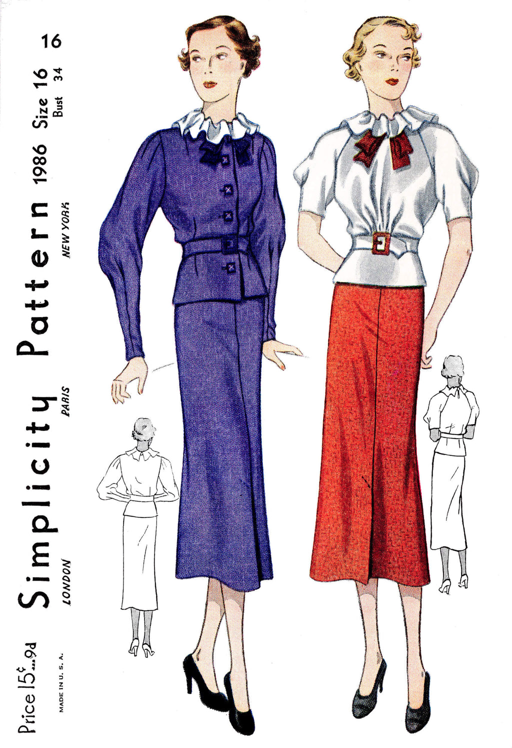 1930s 30s blouse jacket and skirt ensemble Simplicity 1986 vintage sewing pattern reproduction ruffle collar raglan sleeves