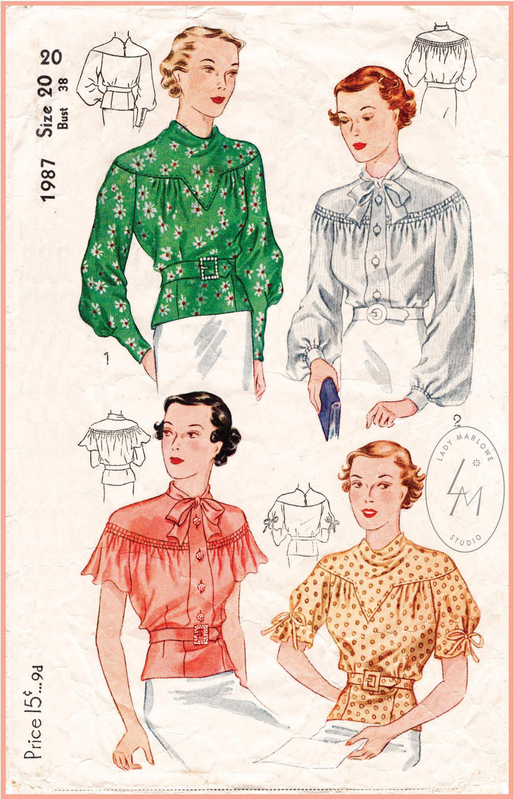 Simplicity 1987 1930s vintage sewing pattern 1930 30s blouse