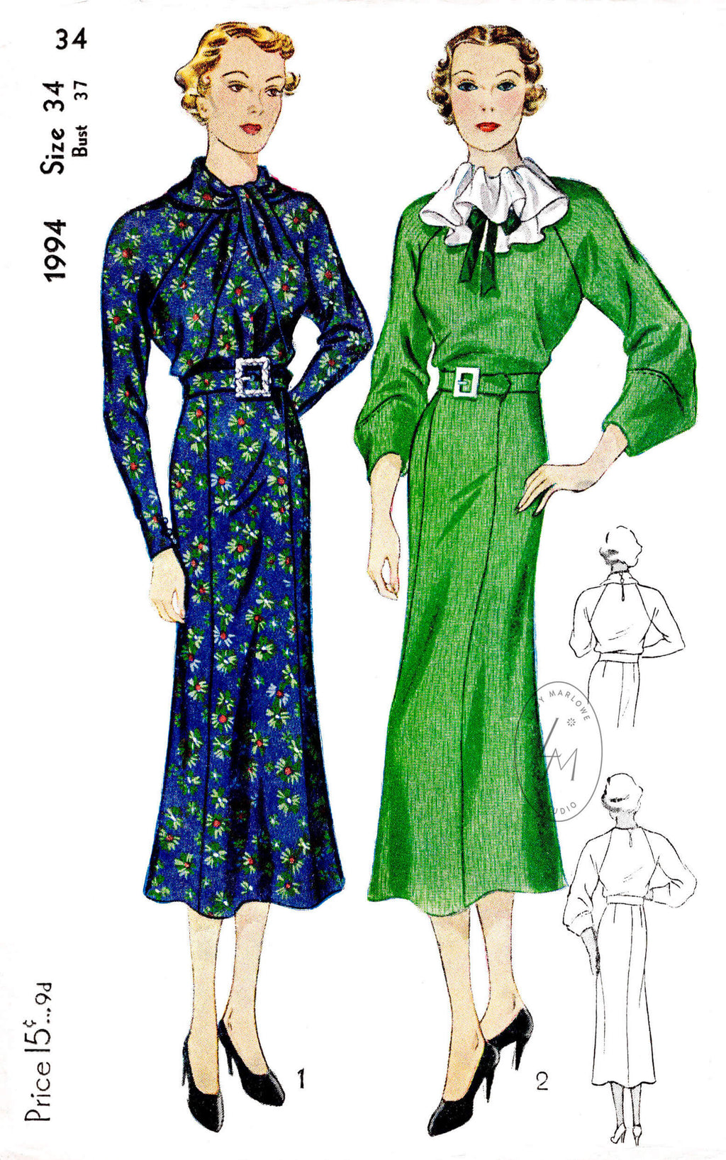 1930s 30s day dress Simplicity 1994 twist collar or jabot ruffle collar raglan sleeves vintage sewing pattern