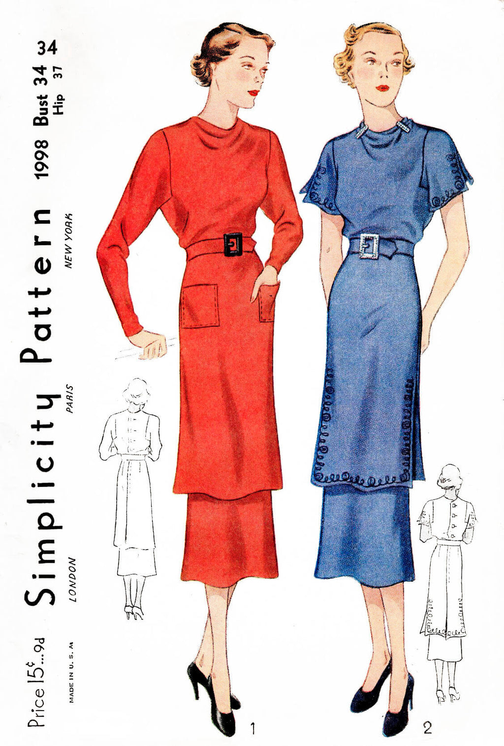 1930s 30s Simplicity tunic dress long or short slashed sleeves art deco seams vintage sewing pattern reproduction