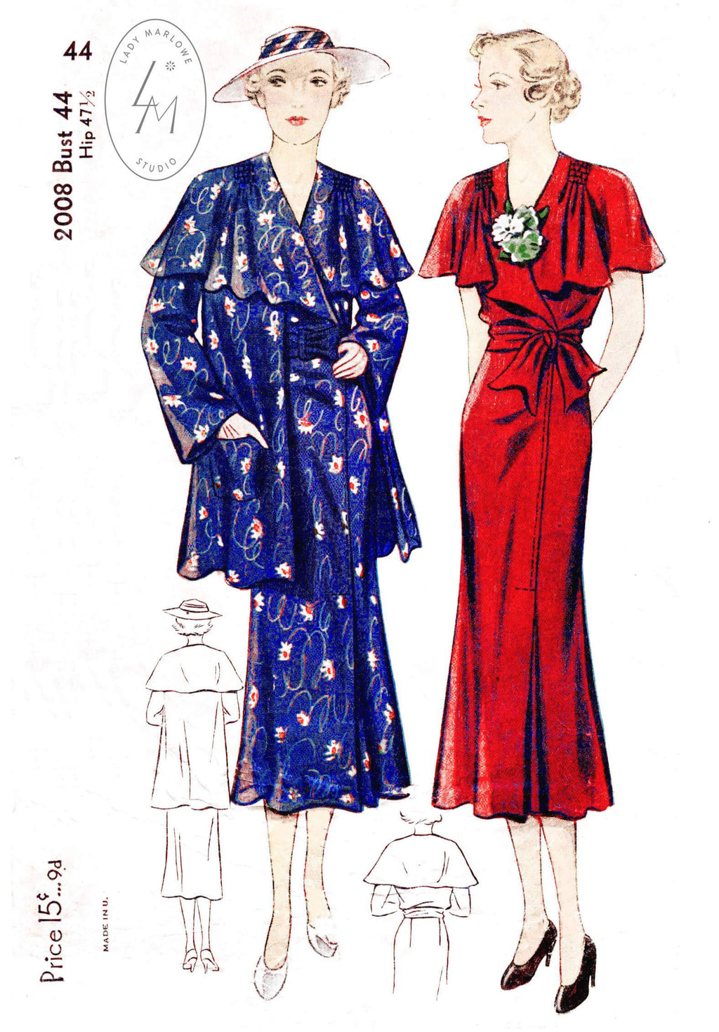 Simplicity 2008 1930s day dress jacket vintage sewing pattern
