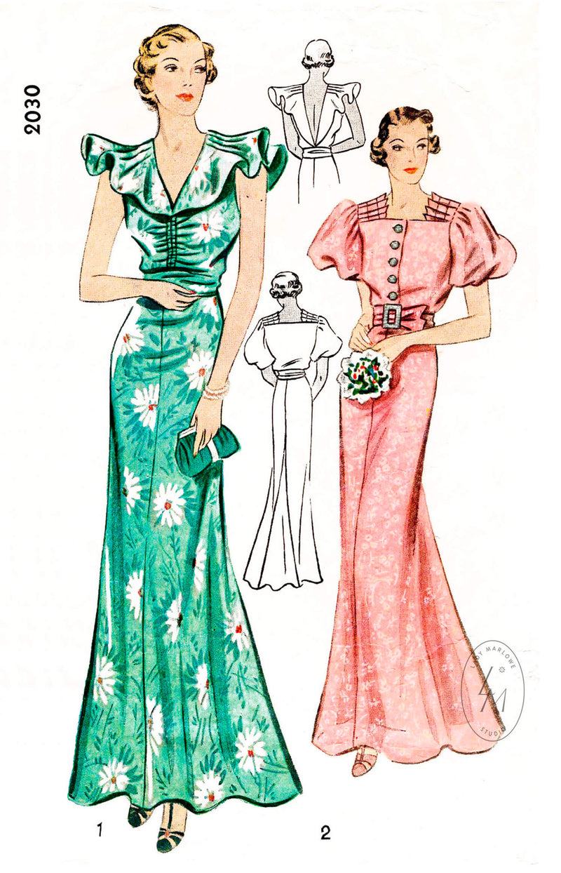 1930s 30s Simplicity 2030 evening dress frill sleeve gown puff sleeves accordion pleats vintage sewing pattern reproduction