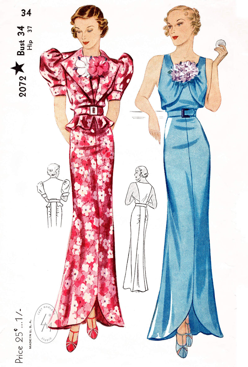 Simplicity 2072 1930s evening dress gown and bolero blouse vintage sewing pattern