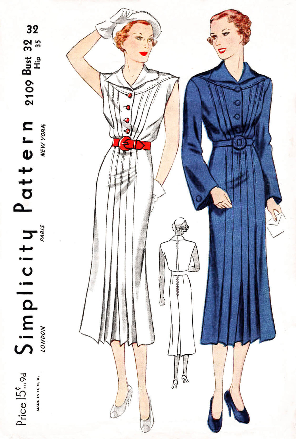 1930s dress Simplicity 2109 pleats bell shaped sleeves vintage sewing pattern reproduction