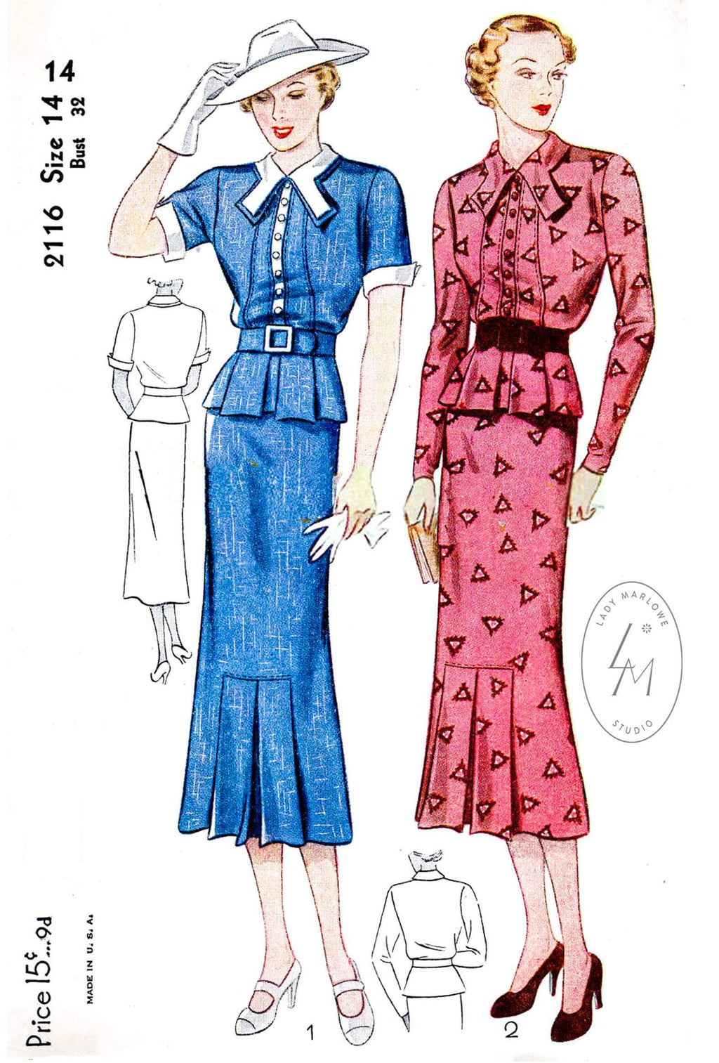 Simplicity 2116 1930s dress suit vintage sewing pattern repoduction