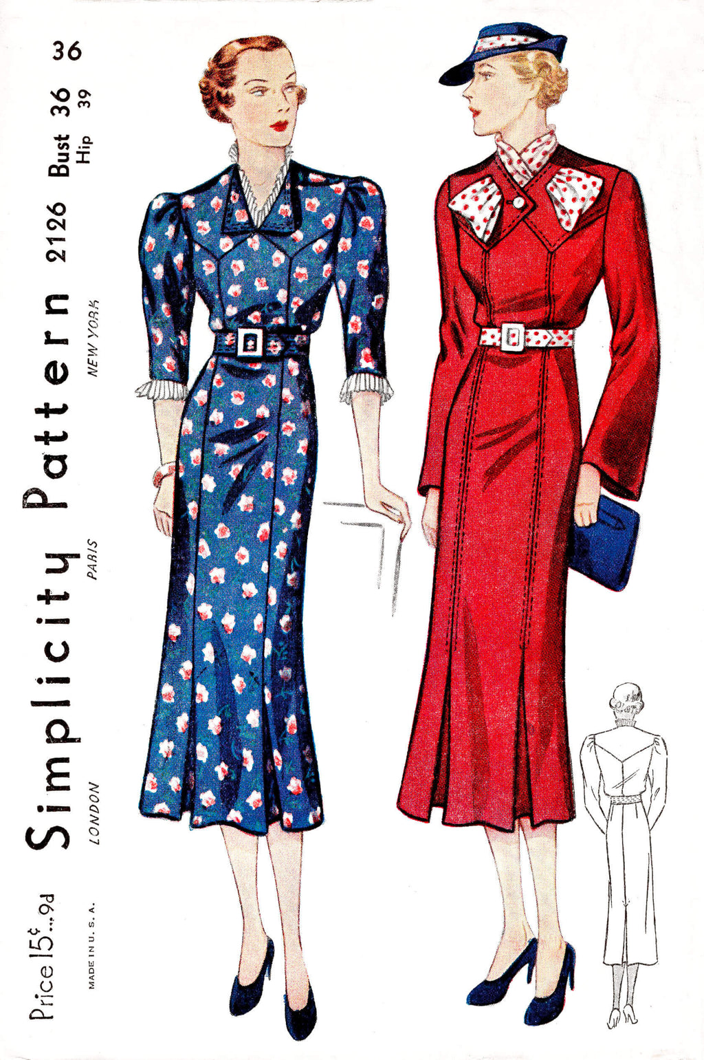 1930s 30s Simplicity 2126 art deco dress in 2 styles vintage sewing pattern reproduction