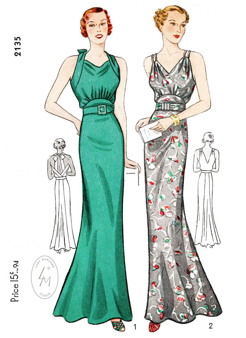 1930s 30s Simplicity 2135 evening dress t straps rounded underbust yoke vintage dress sewing pattern reproduction