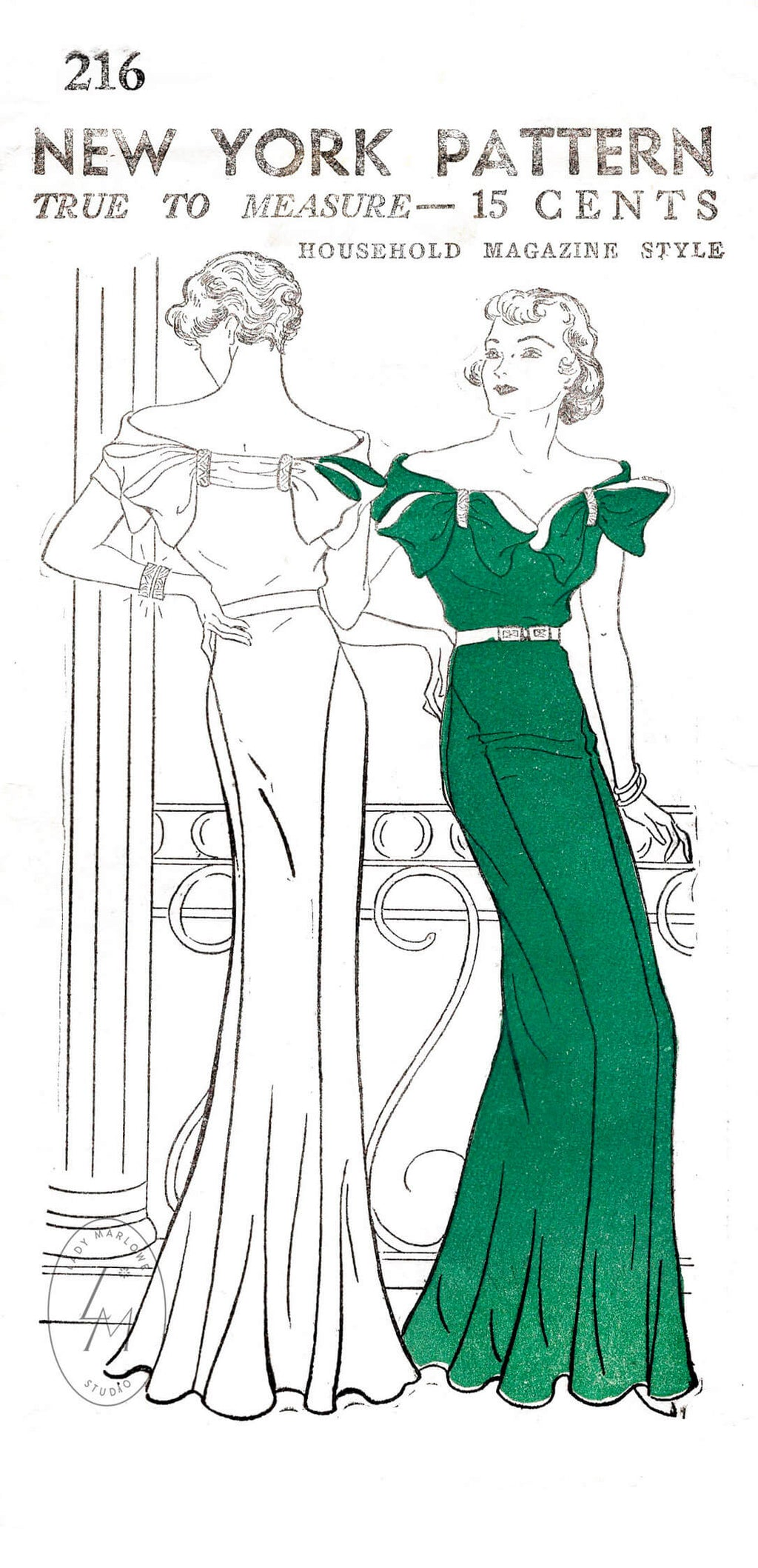 1930s art deco evening dress New York Pattern 216 off shoulder dress vintage sewing pattern reproduction