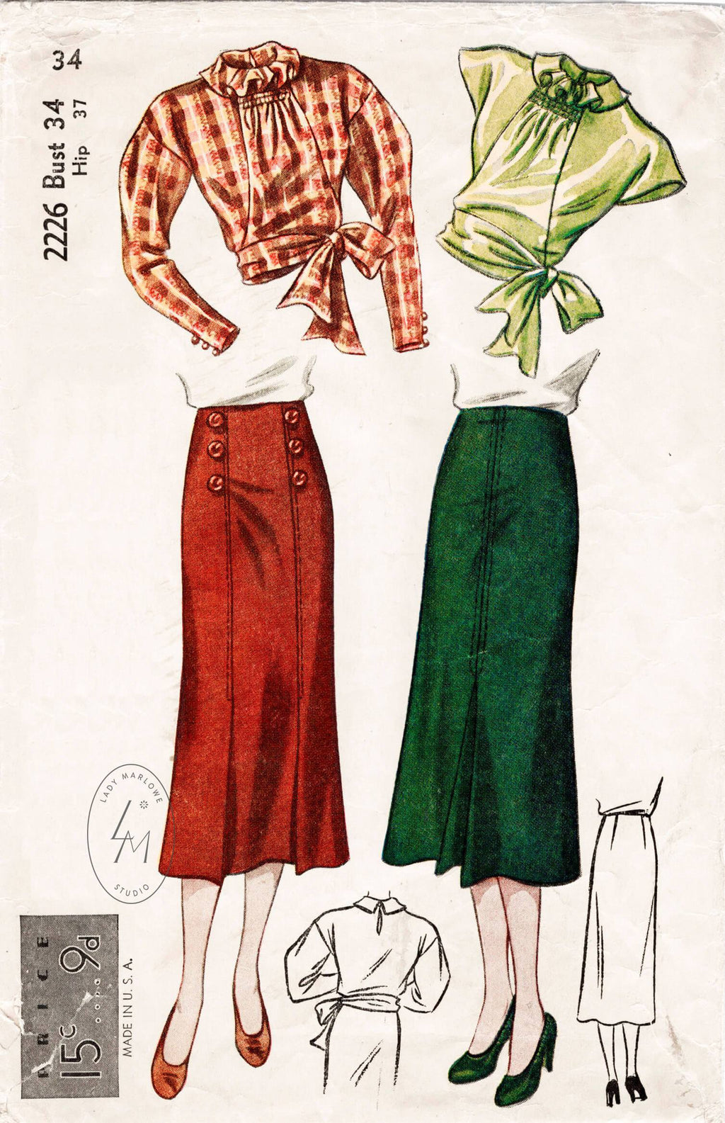 Simplicity 2226 1930s vintage sewing pattern blouse & skirt set 1930 30s
