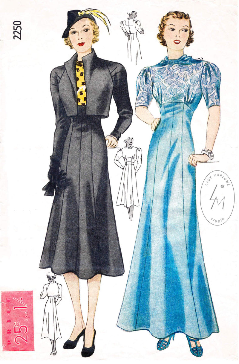 Simplicity 2250 1930s day or evening dress cropped bolero jacket vintage sewing pattern reproduction