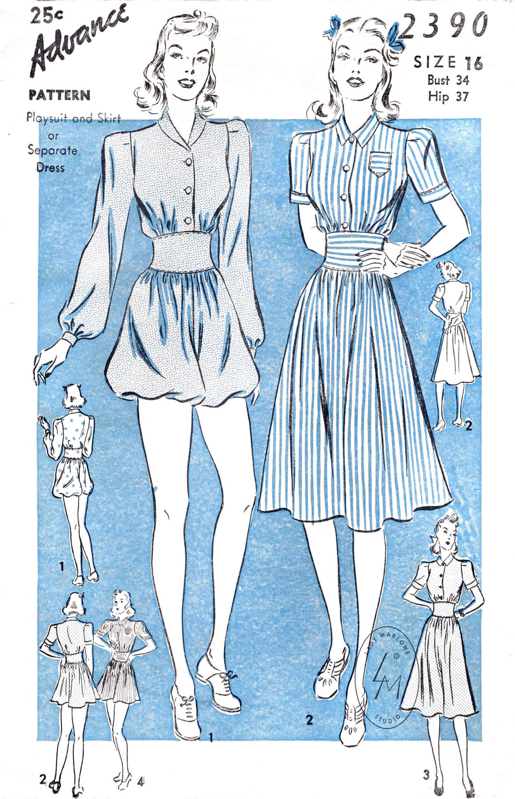 095a2f4032d 1940s 40s Advance 2390 beachwear pattern romper playsuit sun dress vintage  sewing pattern reproduction