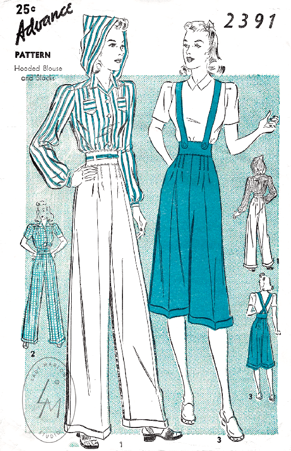 Advance 2391 1940s rosie the riveter workwear vintage sewing pattern reproduction culottes high waisted trousers suspender
