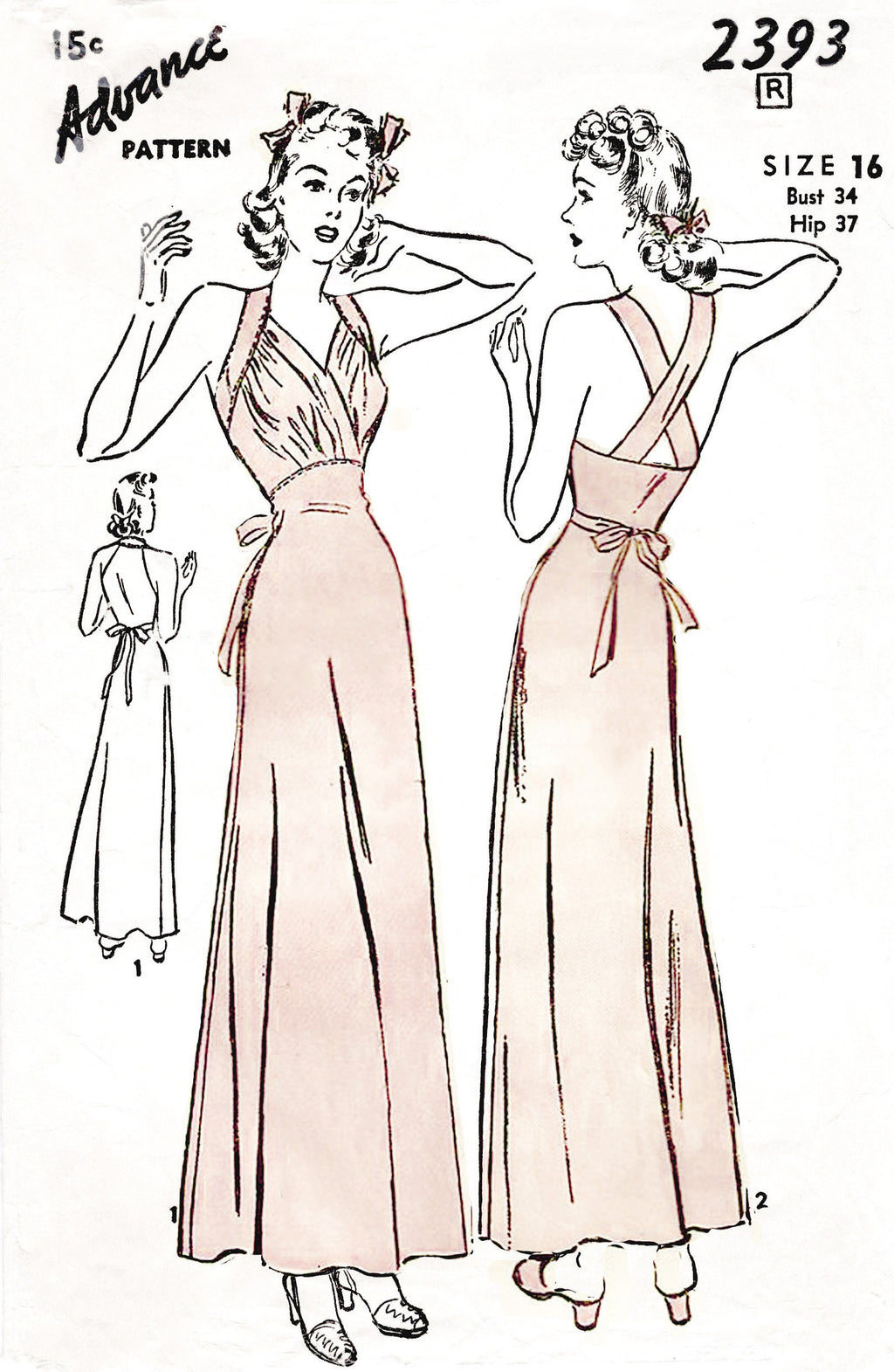 1940s 1930s evening dress negligee vintage lingerie sewing pattern
