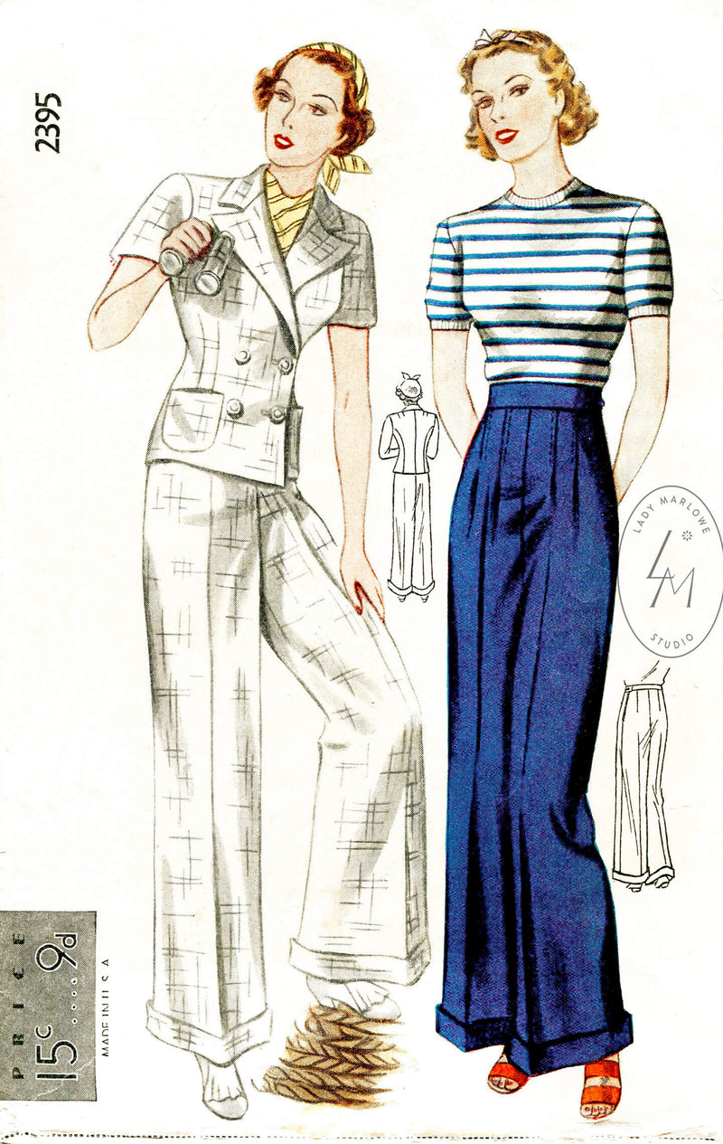 Simplicity 2395 1930s trousers nautical style vintage sewing pattern