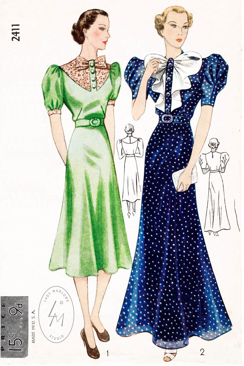 Simplicity 2411 evening gown or day dress butterfly jabot vintage sewing pattern reproduction