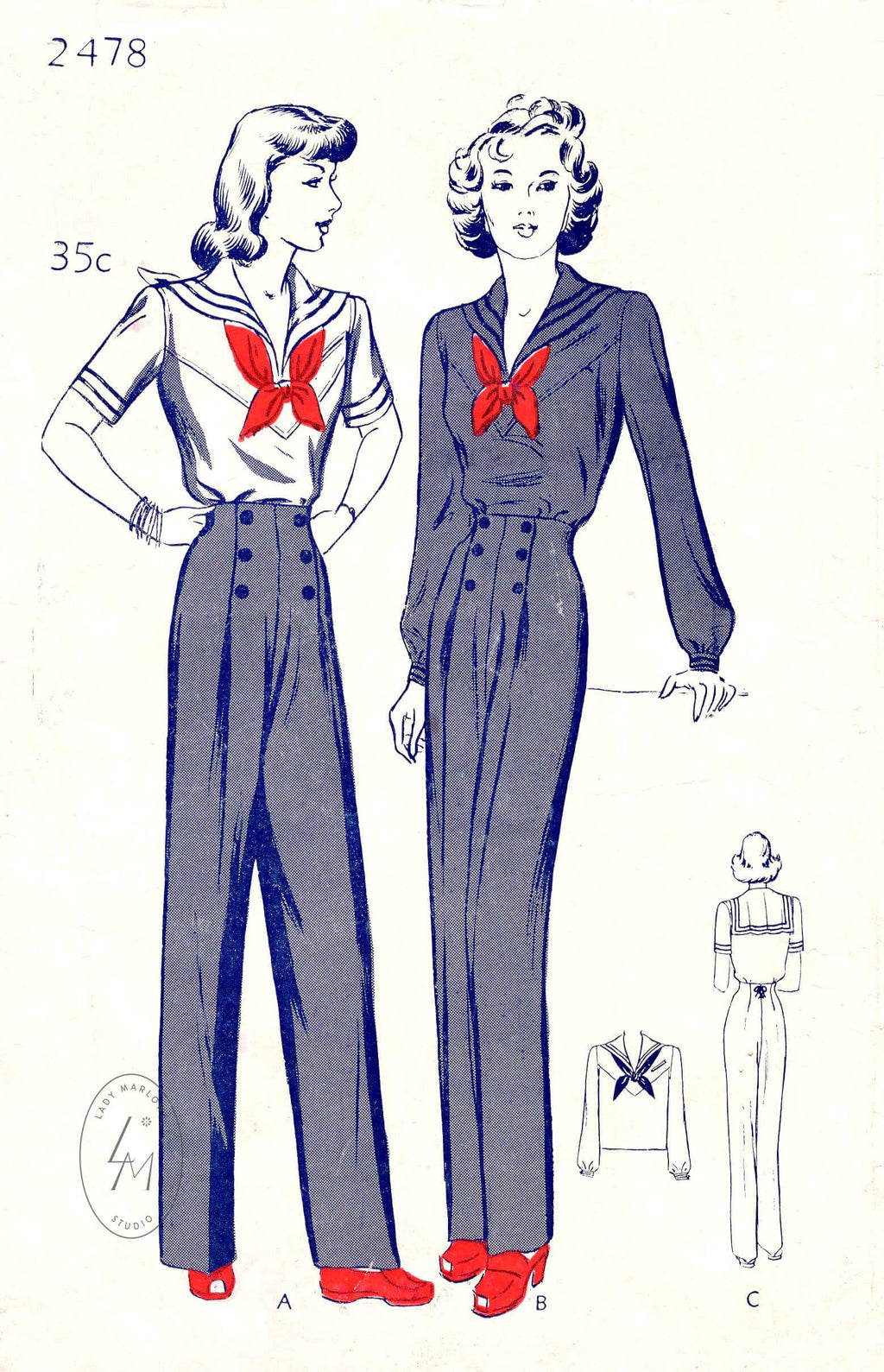 1940s 40s sailor suit blouse 2 styles nautical trousers vintage sewing pattern reproduction Butterick 2478