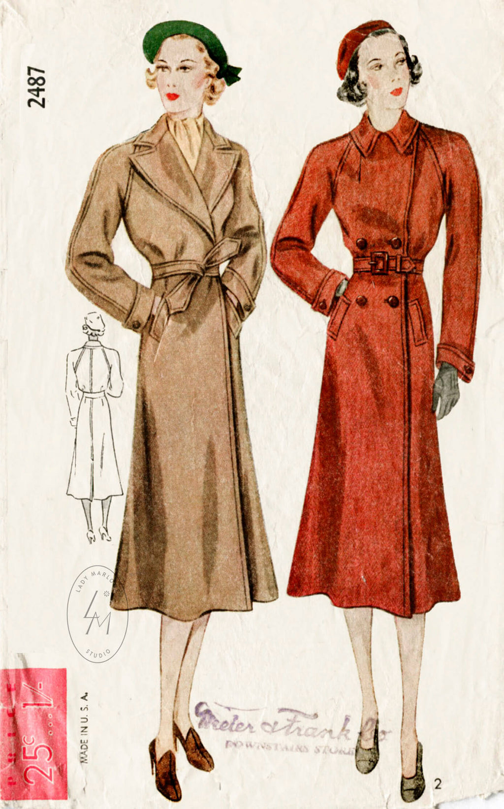 Simplicity 2487 1930s coat vintage sewing pattern