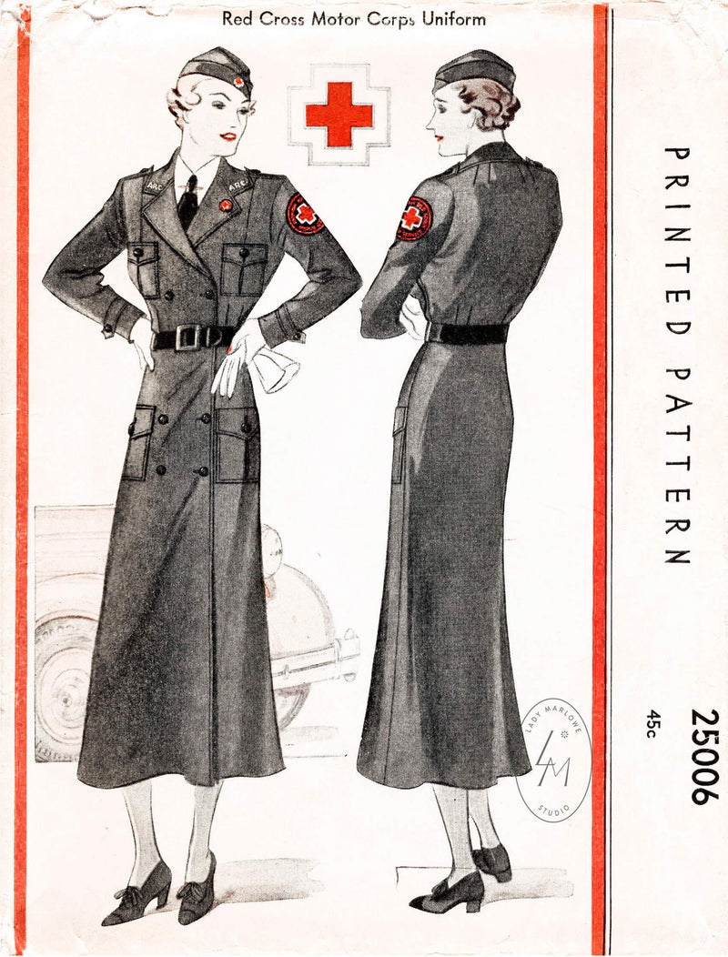 1930s 1935 Red Cross Motor Corps uniform McCall 25006 double breasted dress & cap vintage sewing pattern reproduction