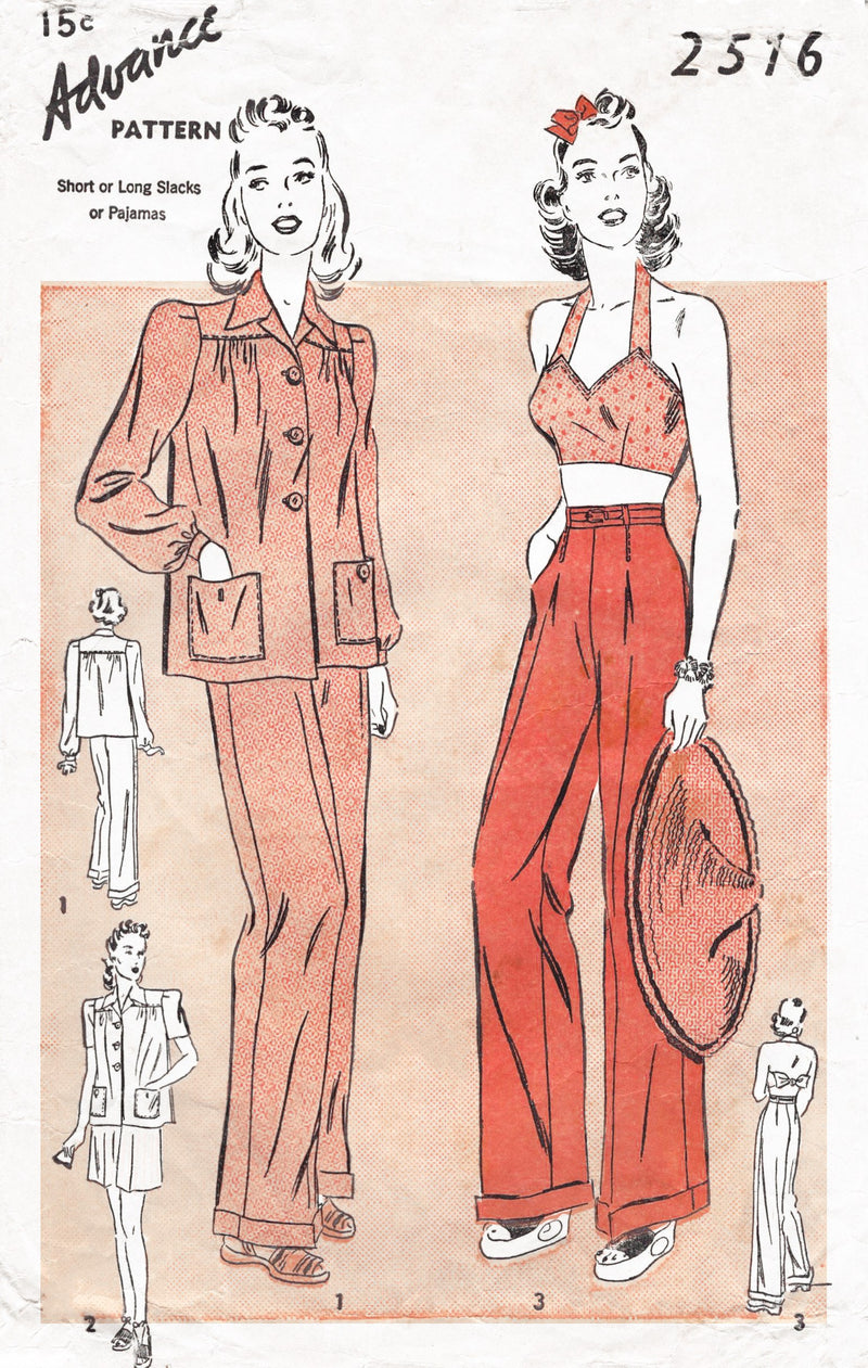 1940s vintage sewing pattern reproduction crop top halter high waist trousers