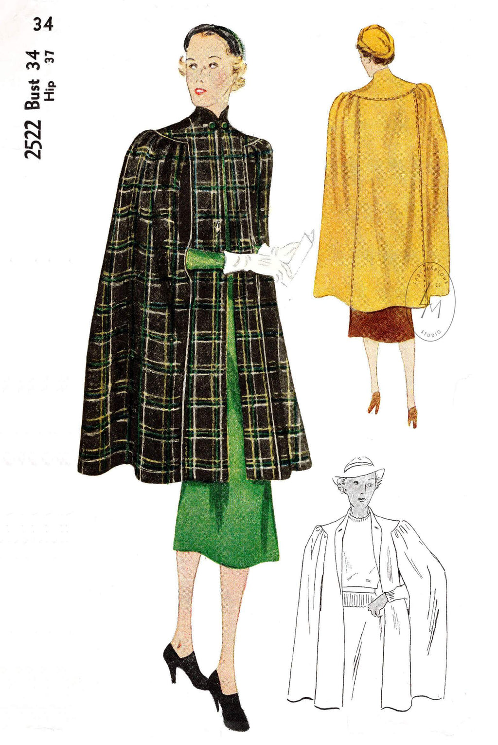 Simplicity 2522 1930s outerwear cape vintage sewing pattern repro
