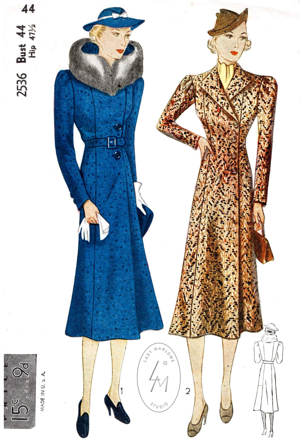 Simplicity 2536 1930s coat jacket vintage sewing pattern 1930 outerwear