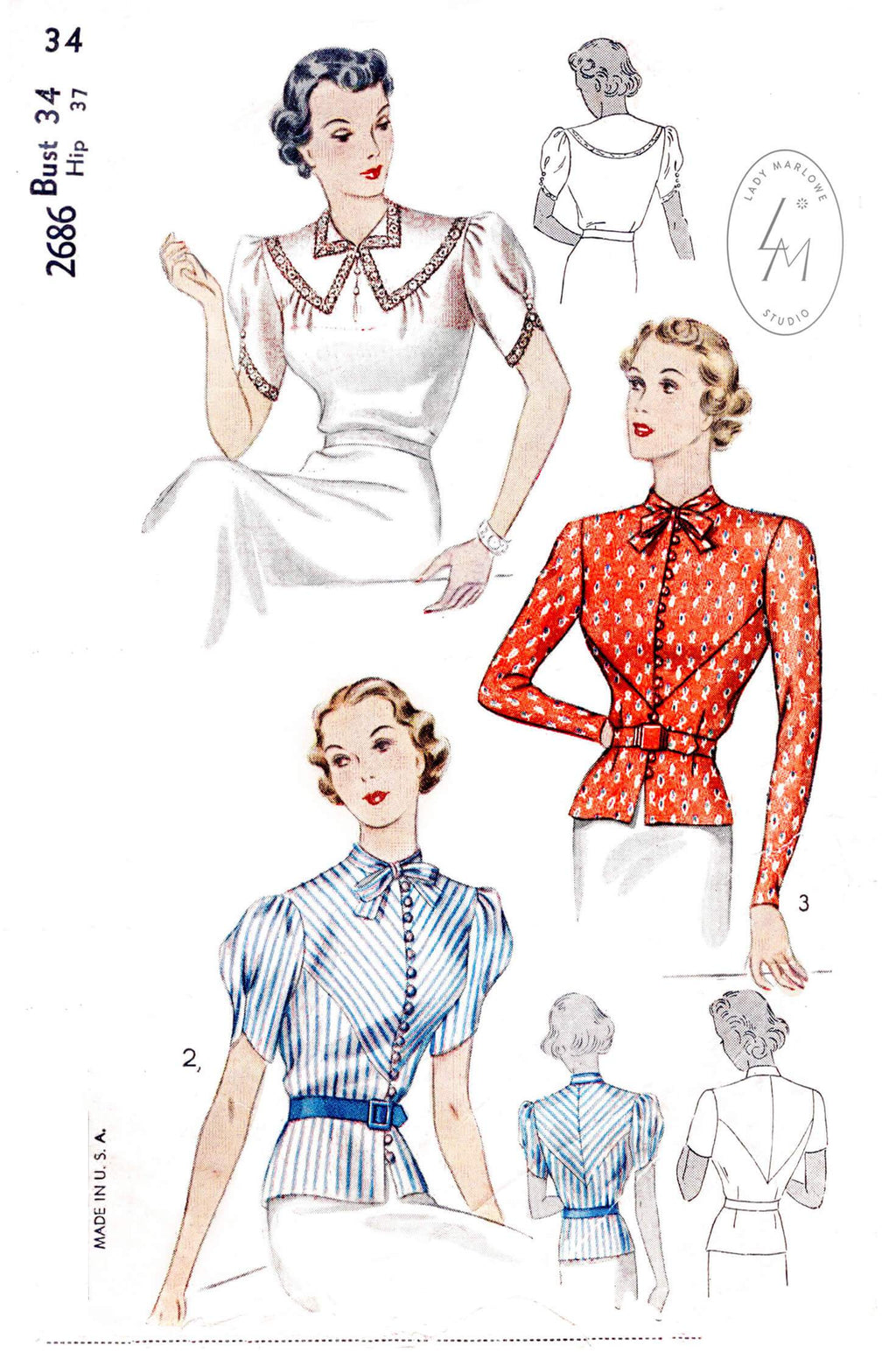 Simplicity 2686 1930s tops blouses vintage sewing pattern reproduction