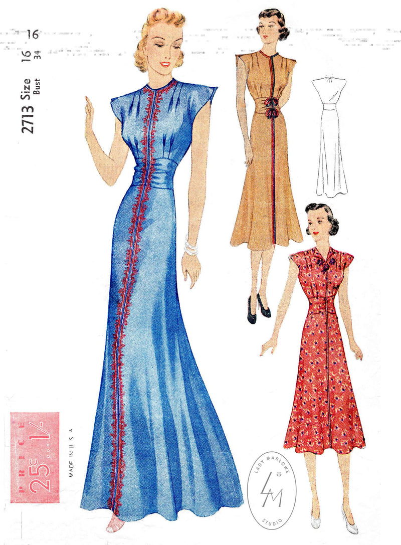 Simplicity 2713 1930s 30s day dress or evening dinner gown kimono cap sleeves braid trim reproduction sewing pattern