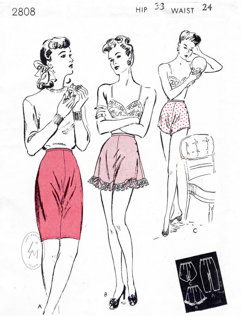 1940s Butterick 2808 vintage lingerie sewing pattern shorts and panties