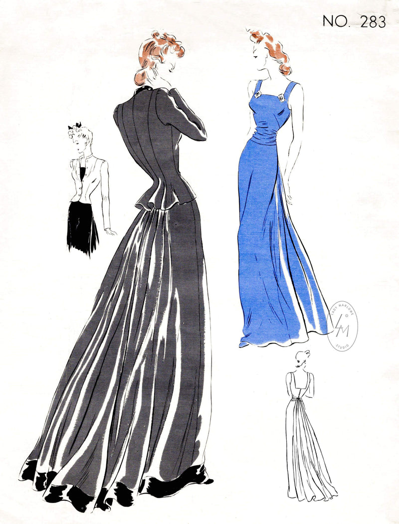 1930s evening dress gown and jacket Vogue Couturier 283 vintage sewing pattern reproduction