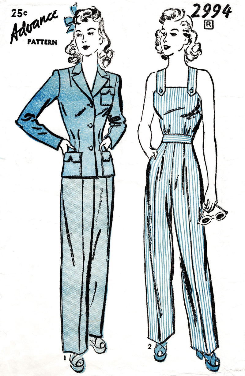 1940s rosie the riveter workwear sewing pattern Advance 2994