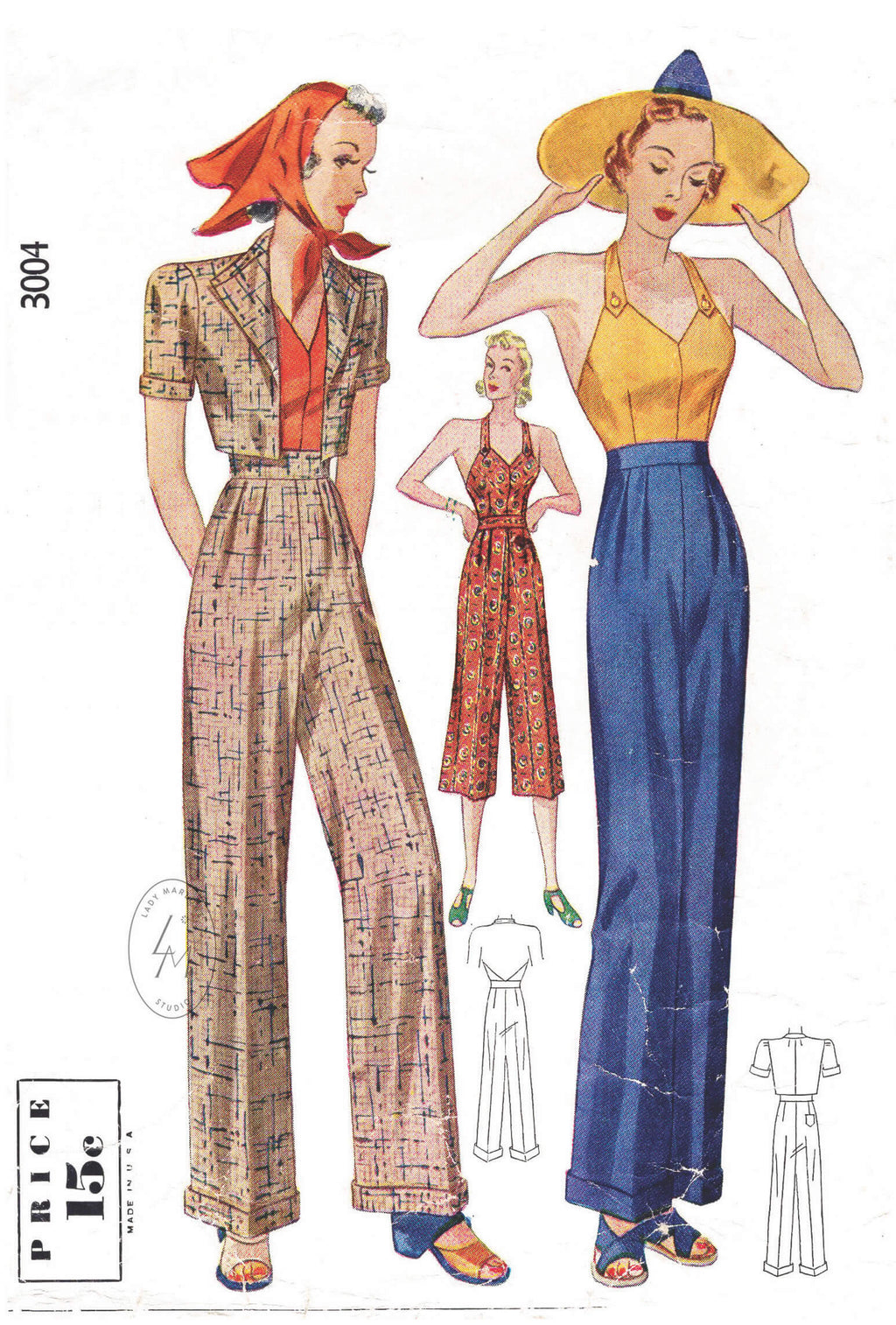 Simplicity 3004 1930s halter top, cropped bolero jacket and slacks trousers vintage sewing pattern reproduction