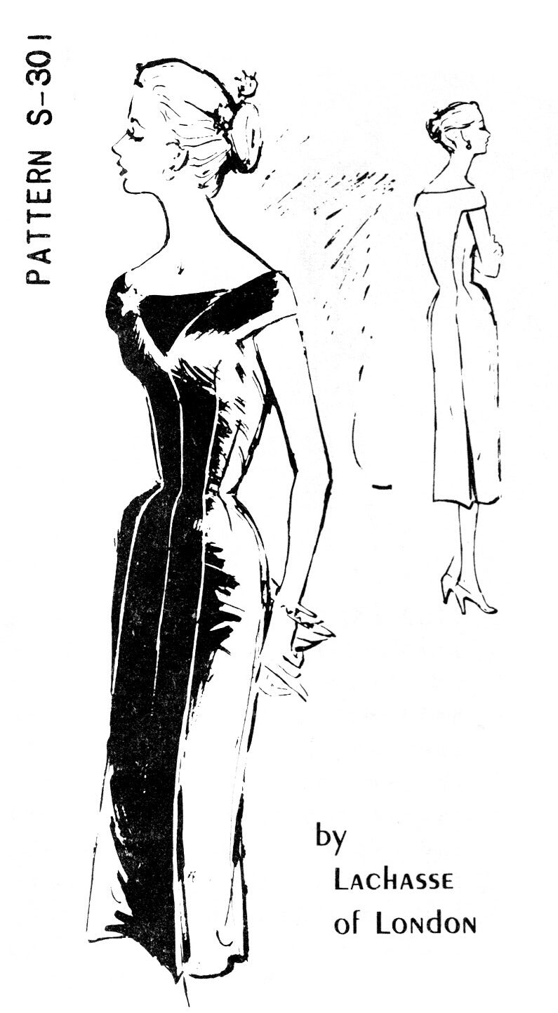 Spadea S-301 Lachasse bardot neckline wiggle dress vintage sewing pattern reproduction
