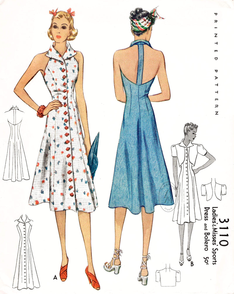 McCall 3110 1930s 1938 beachwear vintage sewing pattern reproduction halter dress and cropped bolero jacket