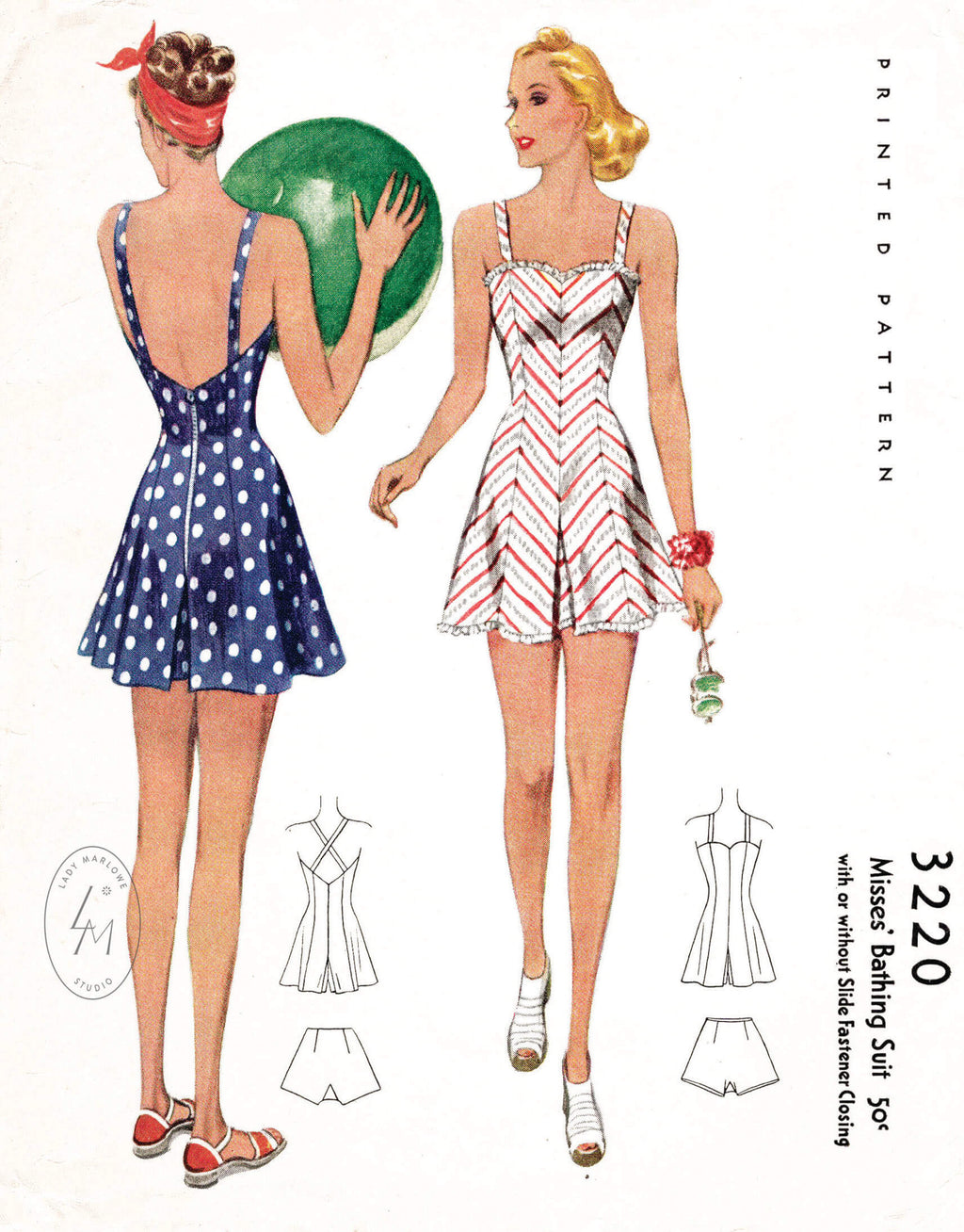 McCall 3220 1930s 1940s beachwear playsuit romper vintage sewing pattern reproduction