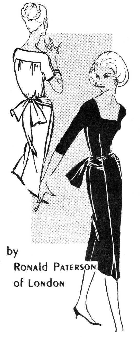 1950s Spadea S305 Ronald Paterson vintage sewing pattern cocktail dress little black dress square neckline