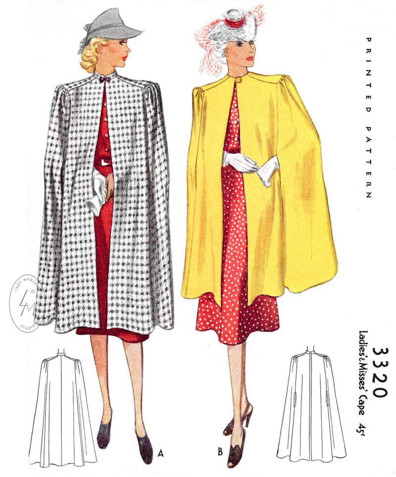 1930s 1940s outwear cape McCall 3320 shoulder shirring armhole slits single button fastening vintage sewing pattern reproduction