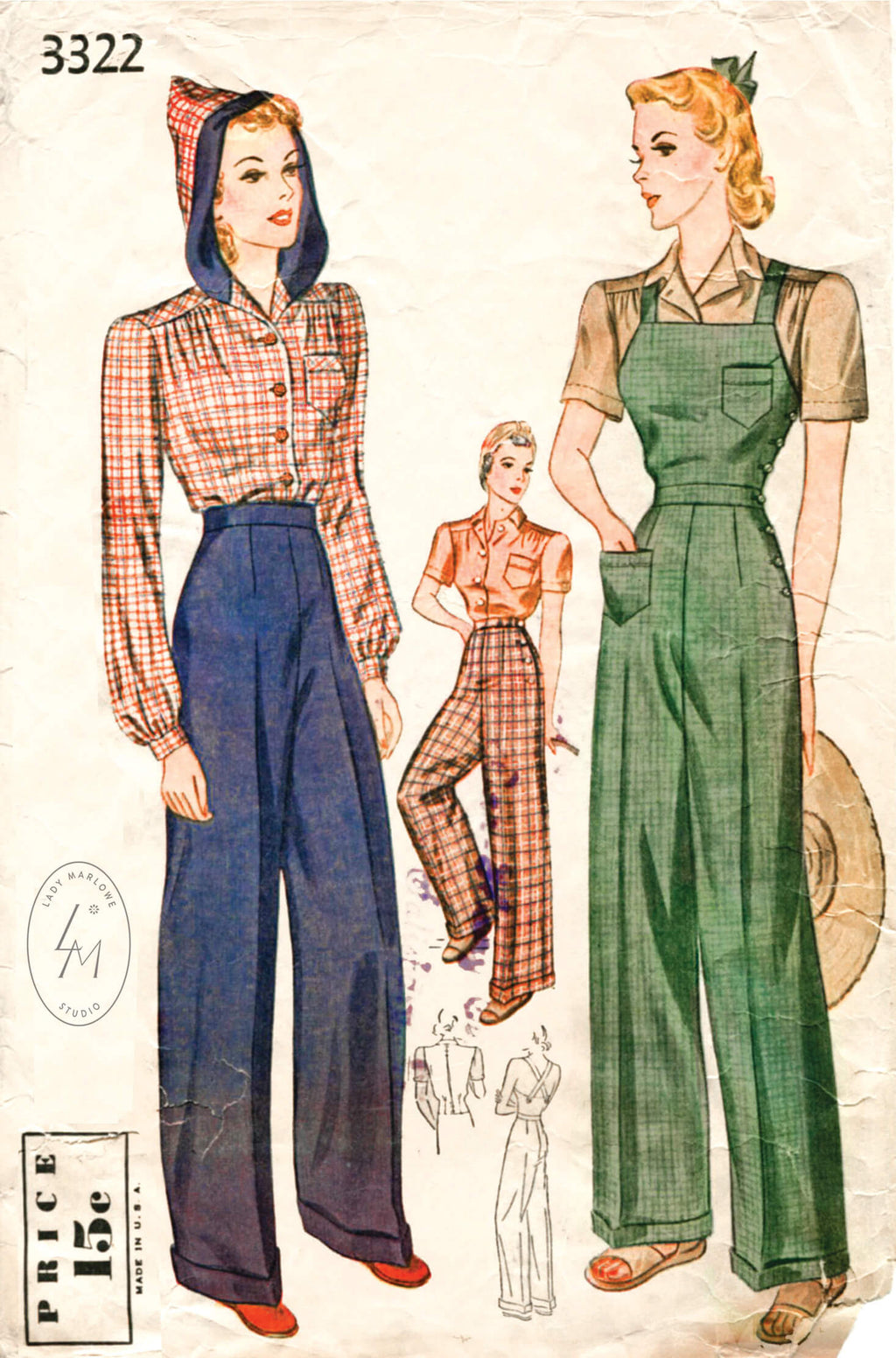 Simplicity 3322 1940s Rosie the Riveter overalls & blouse pattern
