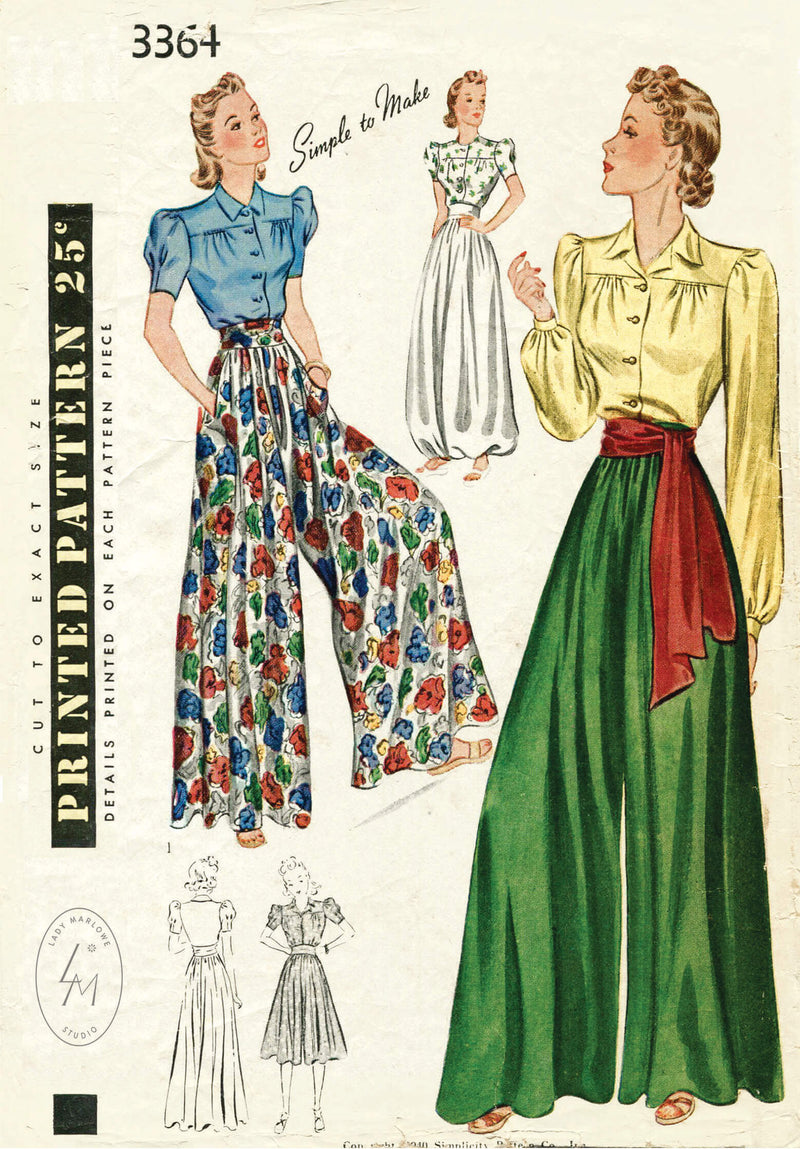 Simplicity 3364 1940s wide leg palazzo pant jumpsuit sewing pattern