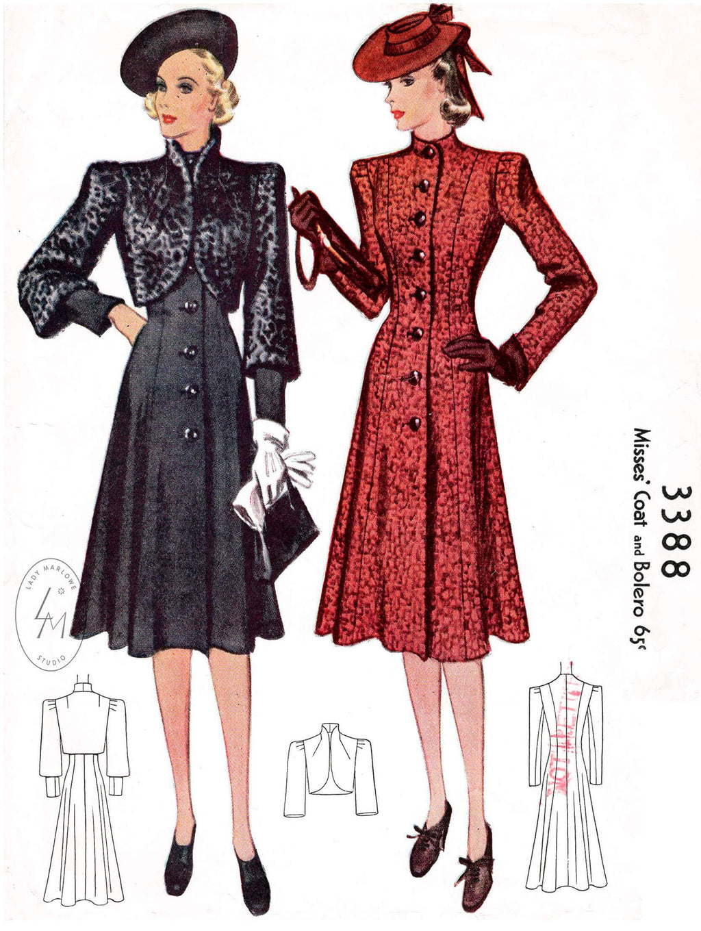 1930s 1939 outwear coat & bolero jacket McCall 3388 princess seams 3/4 sleeves flounce hem vintage sewing pattern reproduction