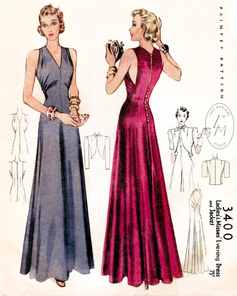 McCall 3400 1930s vintage sewing pattern 1930 30s evening gown