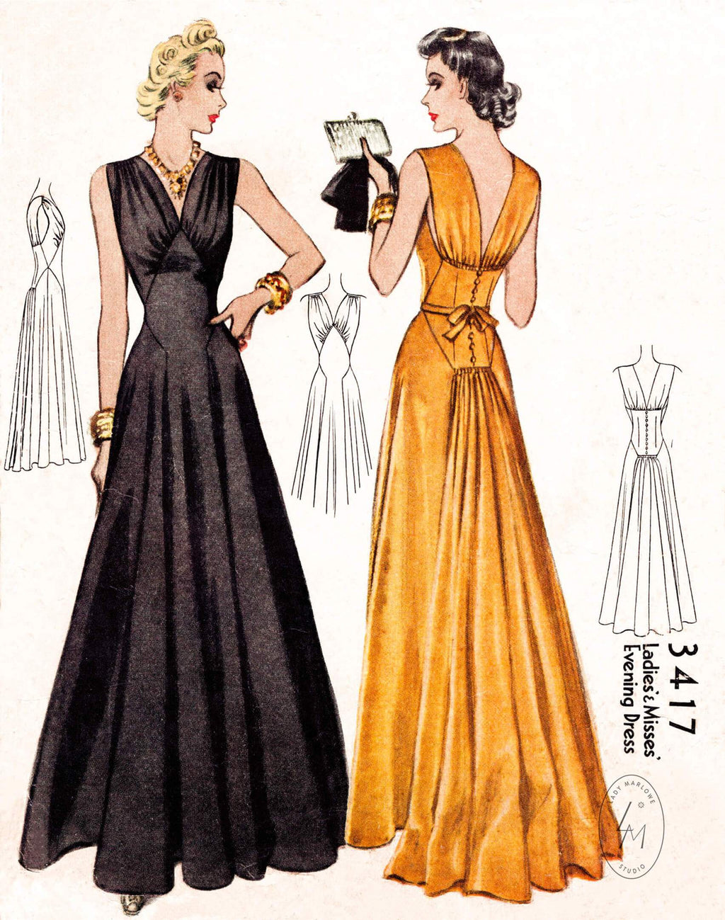 McCall 3417 1930s 1940s evening gown pattern vintage sewing pattern repro