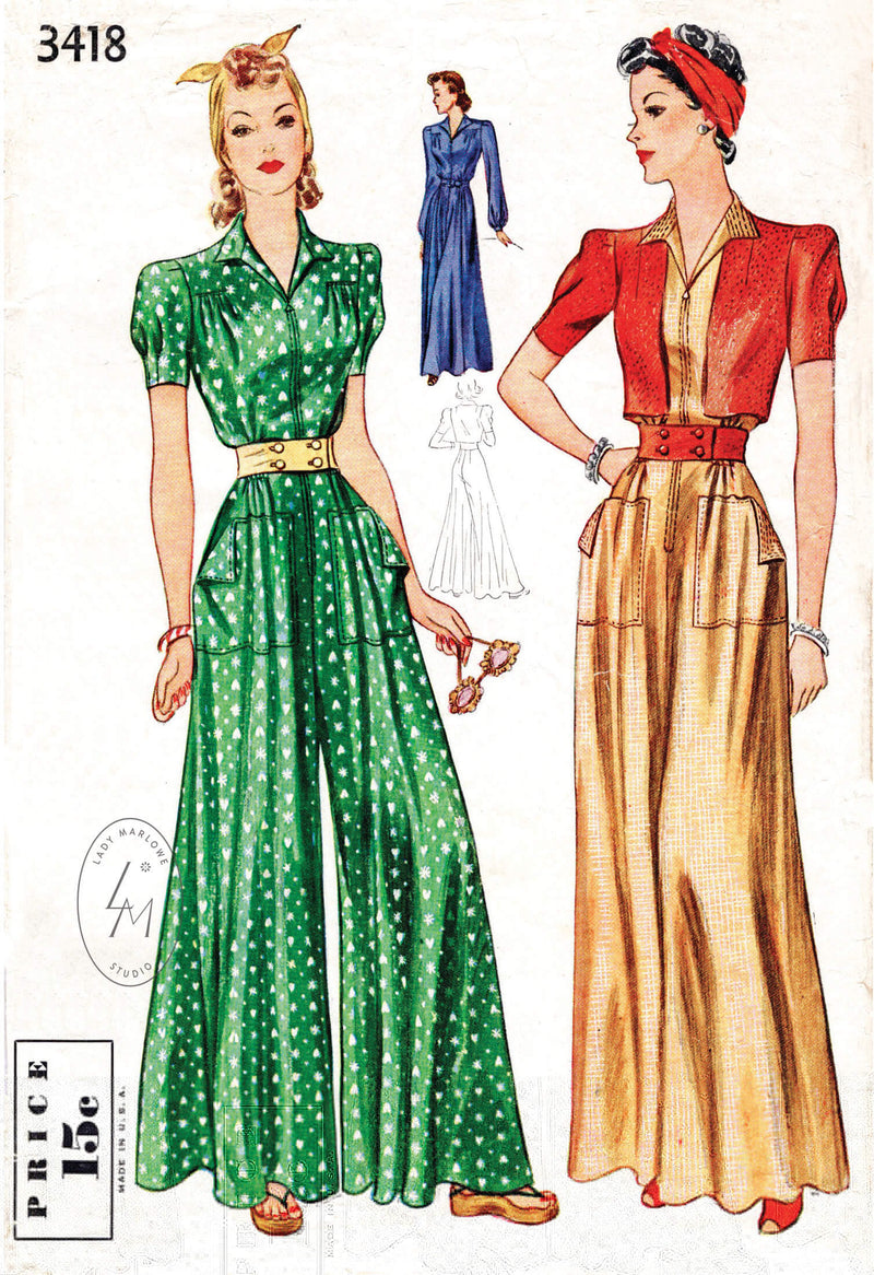 Simplicity 3418 1940s vintage sewing pattern 1940 40s wide leg jumpsuit pants