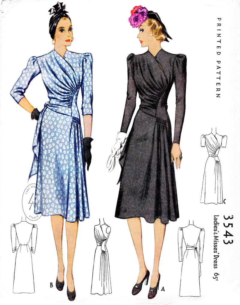 McCall 3543 1939 1940s dress vintage sewing pattern