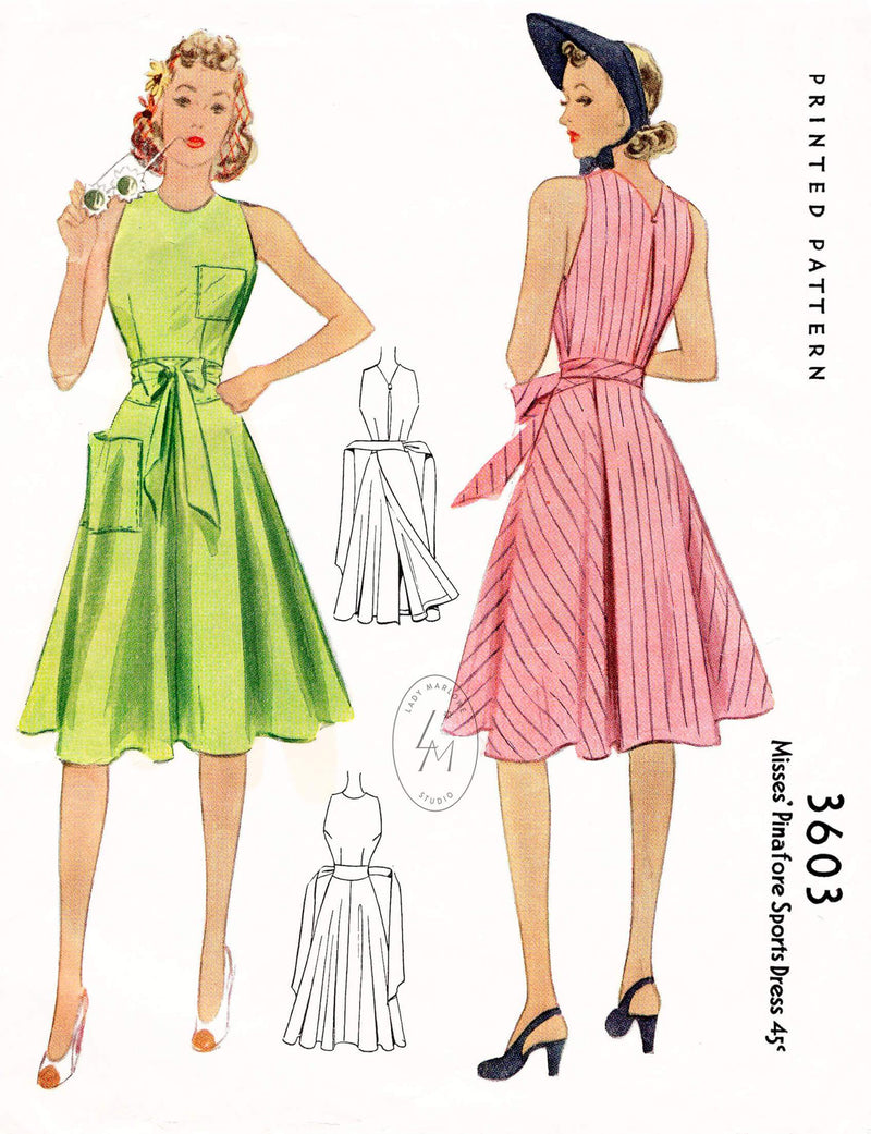 McCall 3603 1940s pinafore sun dress wrap skirt pocket detail vintage sewing pattern reproduction