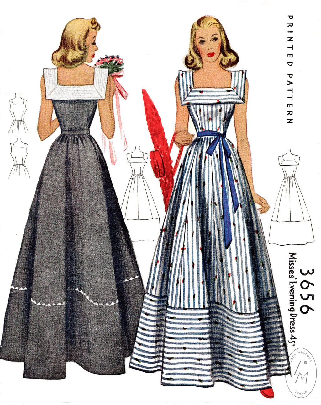 1940s sewing pattern vintage dance dress gown McCall 3656