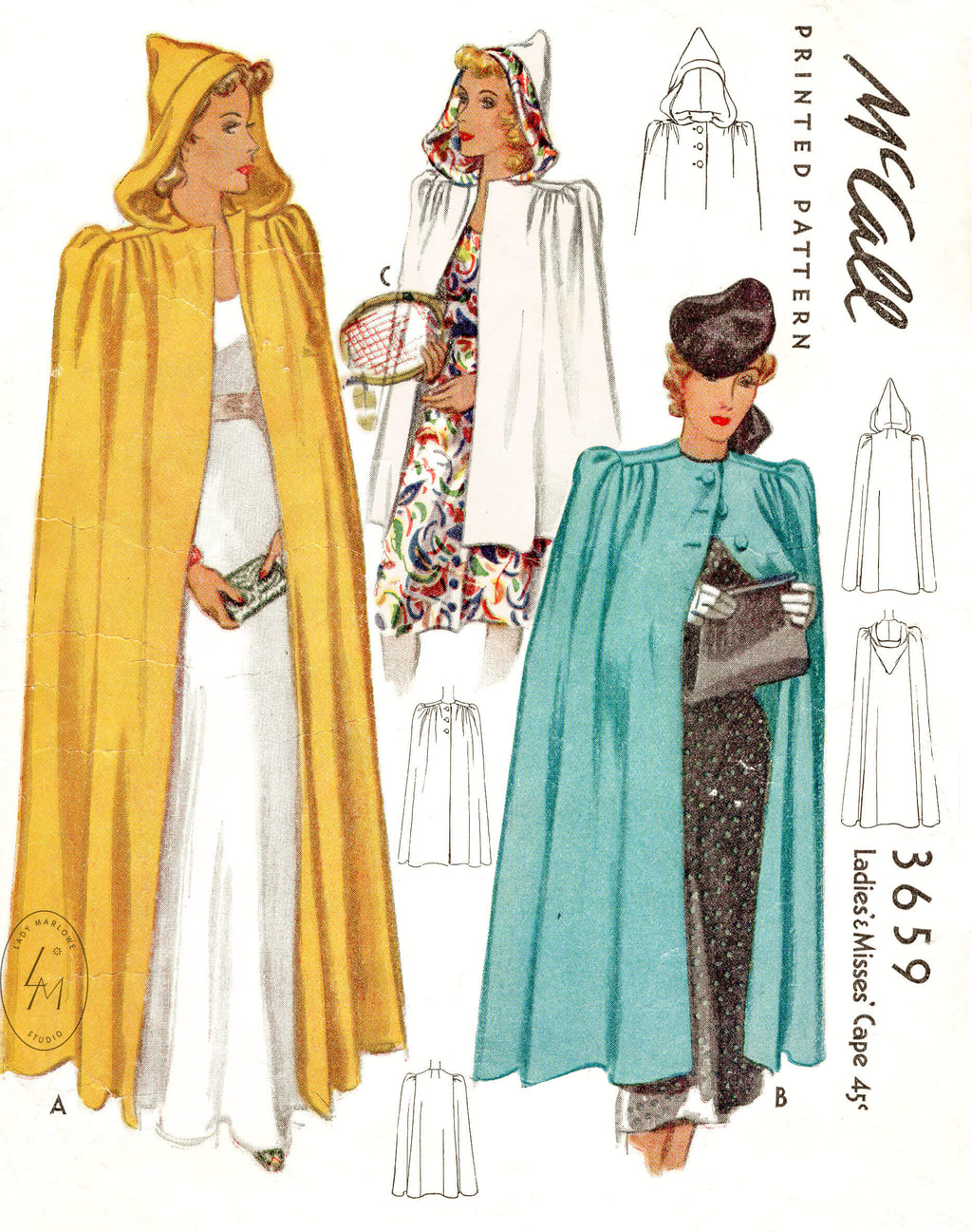 1940s McCall 3659 cape day or evening style vintage sewing pattern reproduction