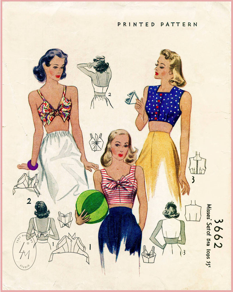 1940s vintage sewing pattern McCall 3662 crop top beachwear